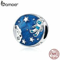 BAMOER S925 Sterling silver charms Blue Enamel Astronaut Fit Bracelets Jewelry