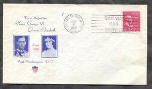 p849 - USA 1939 ROYAL TRAIN RPO Slogan Cancel on Commemorative Cover. 2c Prexie