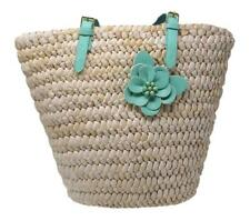 MoDA Straw Handbags Summer Woven Straw Beach Tote Bag wit Floral Accent
