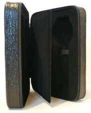 Four Watch Real Leather Travel / Storage Case - Black Arctic Shark - Deep Grain