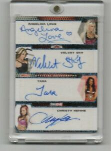 LOVE / SKY / TARA / HEMME 2009 TRISTAR AUTOGRAPH QUAD SSP CARD SUPER RARE! 2/25