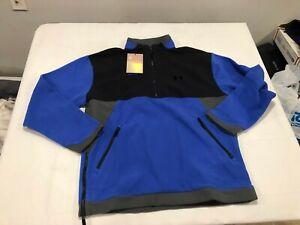 NWT $100.00 Under Armour Mens Rush Fleece 1/4 Zip Jacket Blue / Black Size LARGE