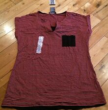 NWT Womens CHELSEA & THEODORE Coral Pier Black Stripe Top Size Small