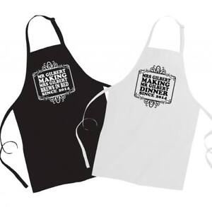 PERSONALISED 'HIS & HERS' FUNNY COUPLE APRONS- (EMAIL NAMES & DATES WANTED)