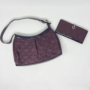 Vera Bradley Quilted Nylon Shoulder Tote Handbag & Wallet Eggplant Purple