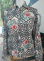 Vintage Kmart 60s 70s Womens Abstract Nylon Button Shirt Disco Floral Top SZ 38