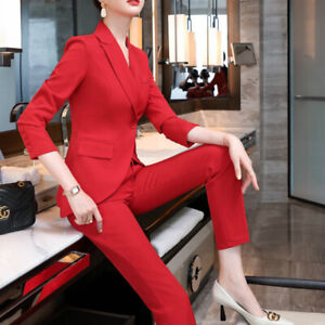 2 Piece Set Lady Office Uniform Business Suits Formal Career Trousers and Blazer