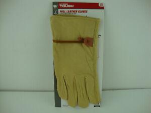 Hyper Tough Gold Tan 100% Goatskin Leather Garden Yard Work Glove Size XL