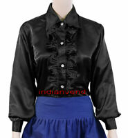 Women Satin Button Down Shirt With Front Ruffle Long Sleeve Black Blouse Top