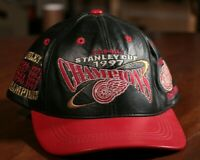 Detroit Red Wings Stanley Cup Champions Leather Hat 1997 NHL Hockey