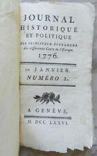 RARE : JOURNAL HISTORIQUE ET POLITIQUE - PANCKOUCKE - N°2 EDITION ORIGINALE 1776