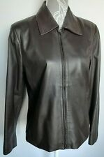 Ladies Leather Jacket UK 14 Brown Lambs Leather Zip Down Loose Fitted Lined