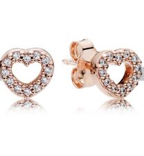 Pandora Rose Gold Captured Hearts Stud Earrings With Pouch