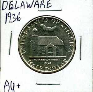 1936 50C Delaware Commemorative Half Dollar in AU+ Condition #02013