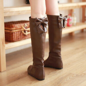 Bowknot Women Round Toe Knee High Flat Boots Shoe Retro Casual Patent Leather AU