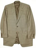 Canali Mens Sport Coat 46XL Brown Green Blue Check Plaid Wool Jacket Tall Italy