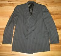 Burberrys Super 100s Black Striped Wool 6 Button Blazer Jacket Mens 43 R