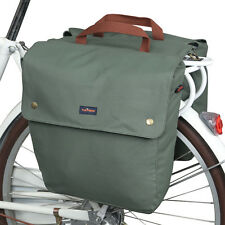 Tourbon Waxed Canvas Bike Bicycle Double Pannier Bag Roll-up Rear Seat in AU
