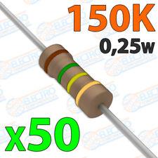 50x Resistencias 150K OHM 5% 1/4w 0,25w carbon film pelicula