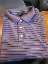 NEW LANDS END MENS S/S SUPIMA POLO SHIRT -HUCKLEBERRY STRIPE - LARGE / LG