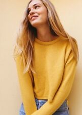 New! brandy melville  deep yellow crop wool cashmere Francesca sweater NWT