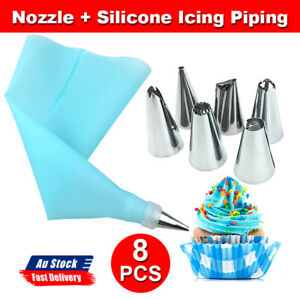 Silicone Icing Piping Cream Pastry Bag Set Cake Decorating Tool 6pcs Nozzle