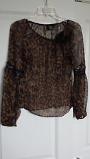 BCBG MaxAzria 100% Silk top, animal print, longsleeve, lace, black brown,size 0