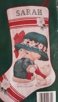 Needle Treasures Little Miss Christmas Stocking COUNTLESS cross stitch kit seale