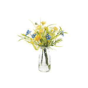 Artificial Silk Buttercup and Gypsophila Mix in Milk Bottle 22cm/8 Inches