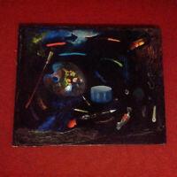 Grand tableau nature morte à la palette de peintre 1960 huile sur toile HST