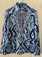 Women's Size S Small Lilly Pulitzer Popover Blue Ikat French Terry Sweatshirt