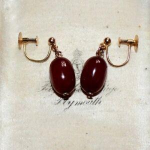 Art Deco 9 ct gold cherry amber bakelite screw back dangle earrings vintage