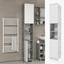VICCO Badschrank FYNN Weiß / Grau Beton - Badezimmerschrank Hochschrank Badregal