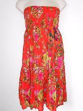 Free Size 12 14 16 18 20 Orange Green Floral Cotton Maxi Skirt Elastic Waist