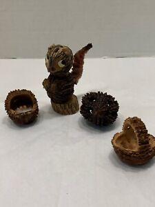 Vtg 1950s Folk Art Carved Walnut Seed Hull Squirral Cradle Rattle Basket 4 Pcs