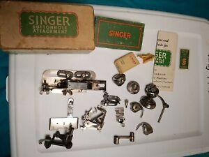Vintage SINGER SEWING MACHINE ATTACHMENTS BUTTONHOLER Extras!!