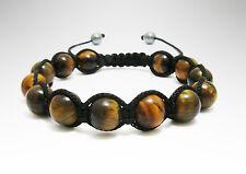 Tiger's Eye 10mm Beads Black Shamballa Adjustable Bracelet Men Women Healing