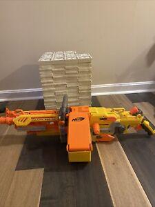 Yellow NERF Vulcan EBF-25 Gun Dart Blaster Machine Belt Works w/ DARTS!