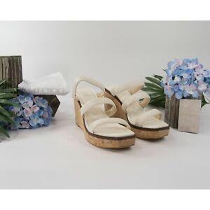 Jimmy Choo Athenia Cream Leather Cork Wedge Platform Sandals 39.5 9.5 NIB