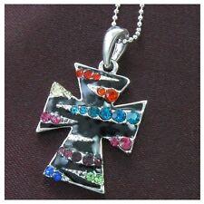Multi Colored Zebra Stripe Enamel Cross Necklace Ball Chain Pendant Silver Tone
