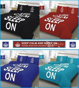 KEEP CALM & SLEEP ON DUVET COVER NEW BEDDING SET IN SINGLE DOUBLE KING