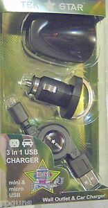 NEW 3 in 1 UNIVERSAL USB TRAVEL CHARGER MINI & MICRO RETRACTABLE CORD IE740 EASY
