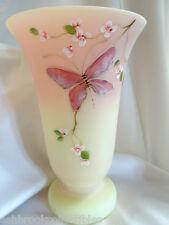 Fenton Art Glass Hand Painted Butterfly Burmese 8 1/2 Vase  08510HP11