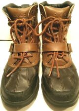 RALPH LAUREN POLO Country Blk Brown Leather All Weather Storm BOOTS Boys Mens 6M