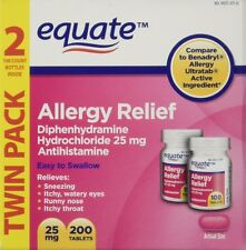 Equate Diphydramine HCI 25 mg Allergy Relief Twin pack, Total 200 tab EXP 10/18+