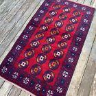 Handmade Red Afghan Accent Rug, Geometric & Tribal Design, 100% Camel Hair, 4x7