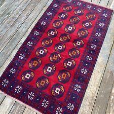 Handmade Afghan Area Rug 4'x7' Geometric Patterns Tribal Design 100% Camel Hair