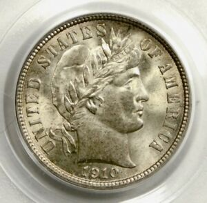 💚CAC💚 PCGS MS65 1910 BARBER DIME
