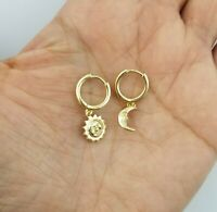14K Yellow Gold Over Moon Star Huggie Hoop Earrings