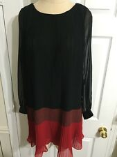 FRENCH CONNECTION Shelby Striped Pleated Dress Size 4 Red Back